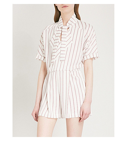 MAJE Imaly striped satin playsuit (Multi-coloured