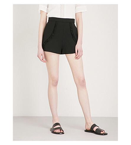 MAJE Inala high-rise woven shorts (Black