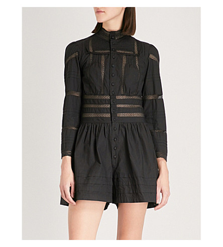 MAJE Bermuda lace detail playsuit (Black