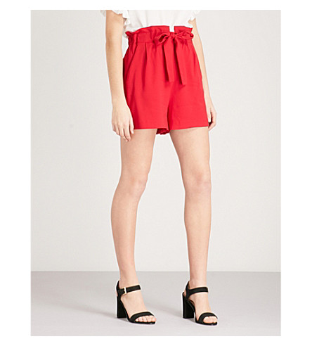 MAJE Iona high-rise crepe shorts (Red