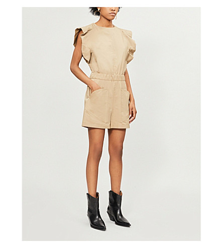 MAJE Iparvin frilled cotton playsuit (Beige