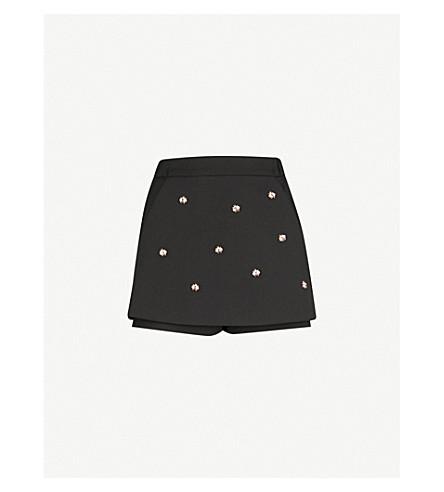MAJE Irina bee-embellished crepe shorts (Black