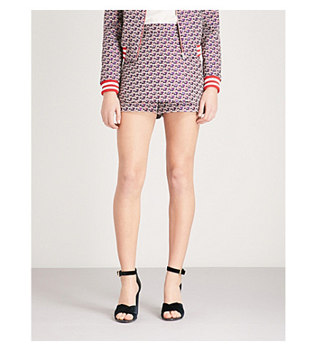 MAJE Rosa floral-pattern jacquard shorts (Multi-coloured