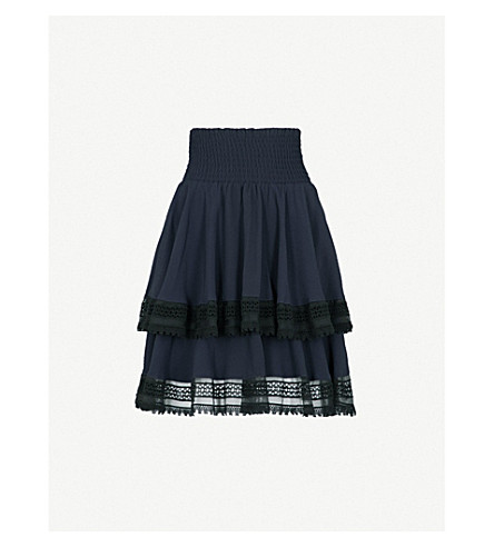 MAJE Tiered crepe skirt (Navy