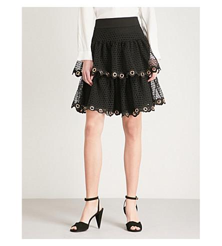 MAJE James eyelet-detail tiered lace skirt (Black
