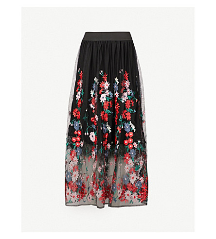 MAJE Jamie floral-embroidered tulle midi skirt (Black