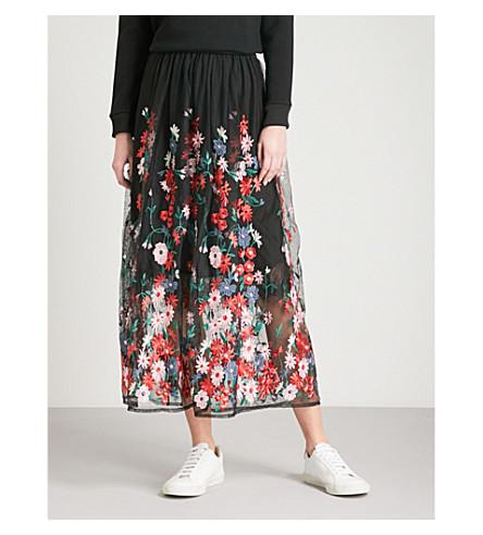 MAJE Jamie floral-embroidered tulle midi skirt (Black