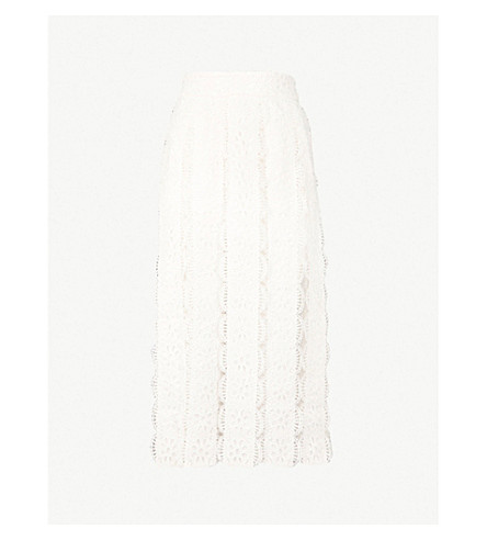 MAJE Janila lace and mesh skirt (White