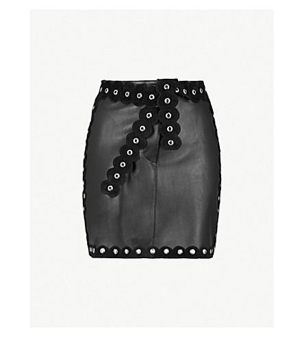 MAJE Eyelet trim leather mini skirt (Black
