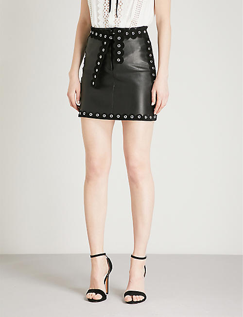MAJE Eyelet trim leather mini skirt