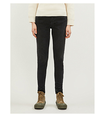 MAJE Released-hem skinny low-rise jeans (Anthracite