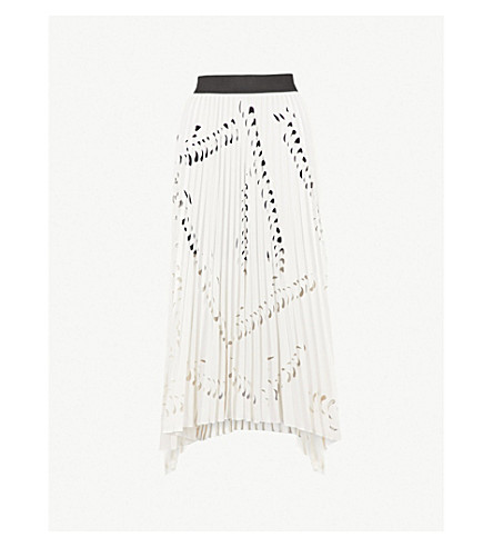 MAJE Laser cutout pleated skirt (White