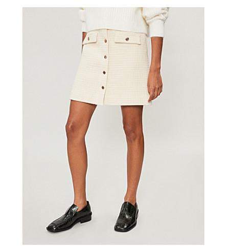 MAJE Jiba high-rise woven skirt (Cream