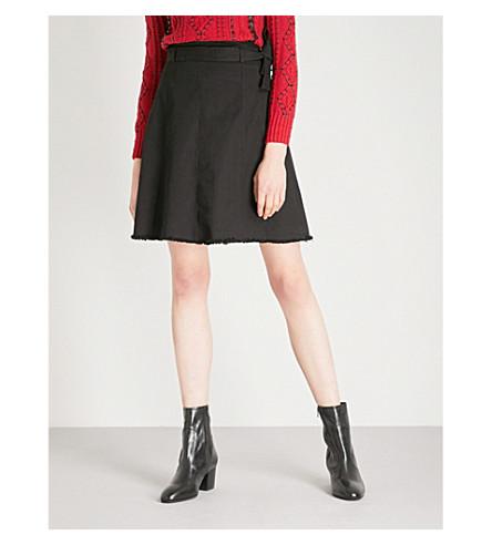 MAJE Bella cotton-blend mini skirt (Black