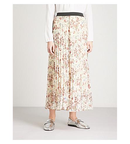 MAJE Floral-print chiffon skirt (Multi-coloured