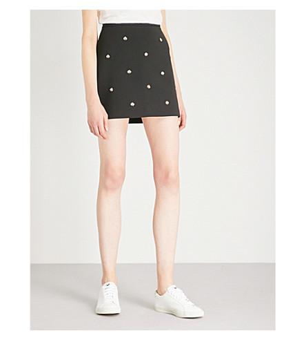 MAJE Jizie bee-embellished crepe skirt (Black+210
