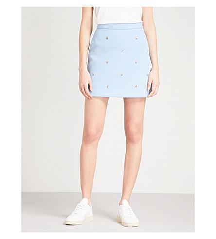 MAJE Jizie bee-embellished crepe skirt (Blue+sky