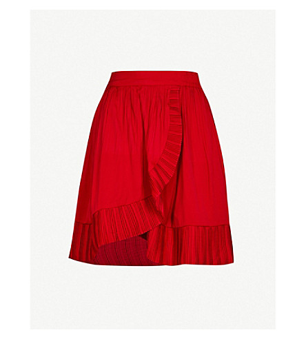 MAJE High-rise pleated skirt (Red