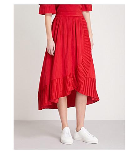 MAJE Jonette satin skirt (Red