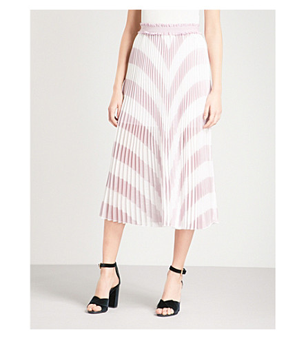 MAJE Joro chevron-pattern pleated woven skirt (Purple