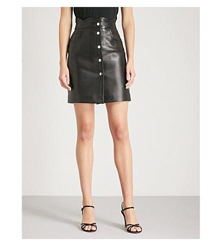 MAJE Journey leather mini skirt (Black