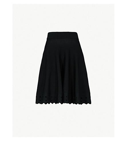 MAJE June cutout-hem knitted skirt (Black+210