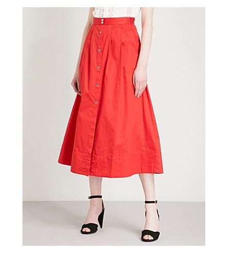 MAJE Jupalo cotton midi skirt (Red