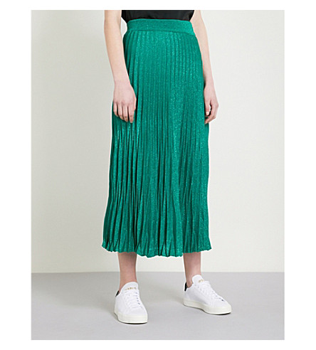 MAJE Jupette metallic pleated skirt (Green