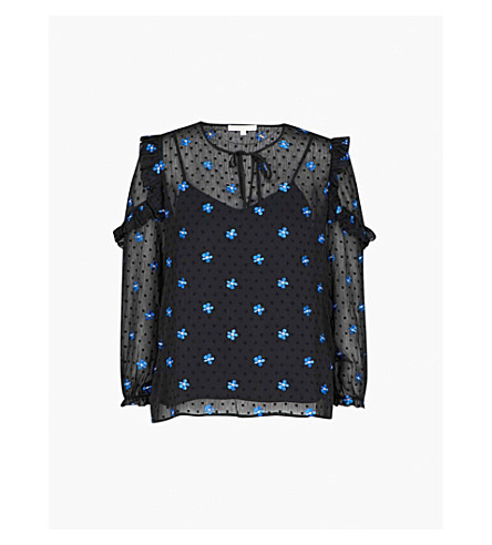 MAJE Floral-embroidered ruffled top (Black+210