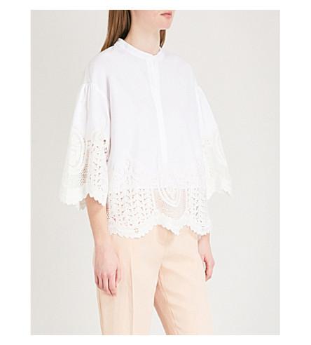 MAJE Laeli lace-trim cotton top (Cream
