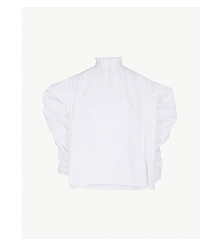 MAJE Lamier cotton-poplin shirt (White