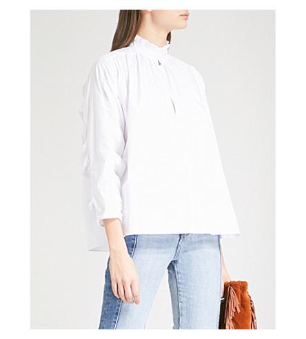 MAJE Lamier cotton-poplin shirt (White