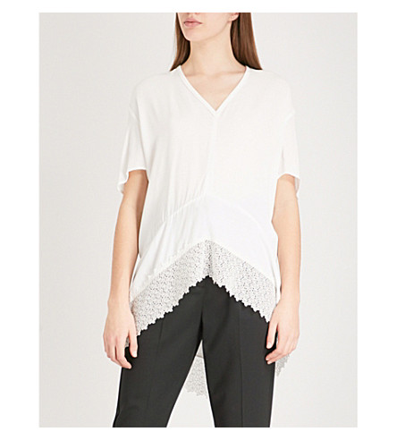 MAJE Lexia lace-panelled crepe asymmetric top (Cream