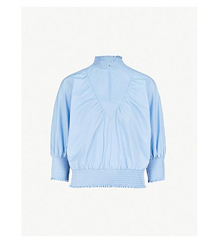 MAJE Libou smocked cotton-poplin blouse (Blue