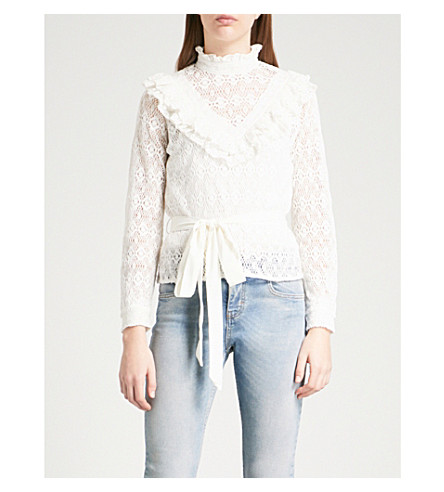 MAJE Limba frilled-collar lace top (Cream
