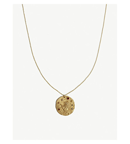 MAJE Lion Leo zodiac brass coin necklace (Gold