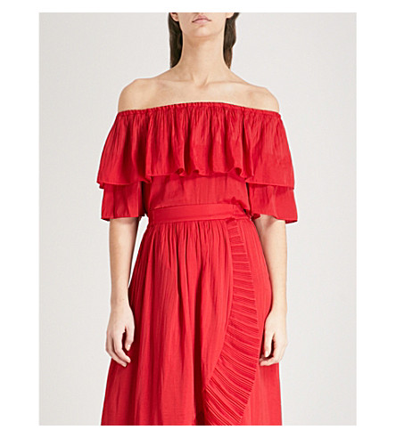 MAJE Locao off-the-shoulder satin top (Red