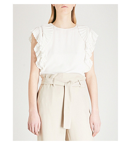 MAJE Lolana pleated crepe blouse (Cream