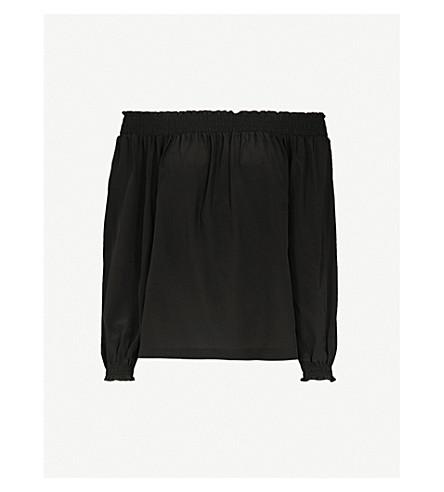 MAJE Loriset off-the-shoulder silk top (Black