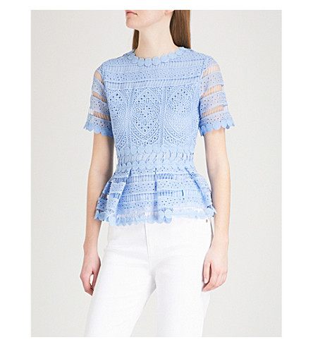 MAJE Loseray embroidered-lace top (Blue