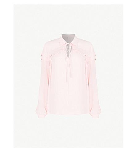 MAJE Tie-neck crepe blouse (Purple