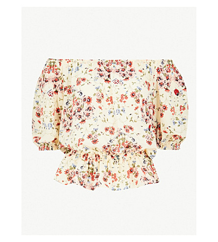 MAJE Lucky floral-print silk-crepe top (Multi-coloured
