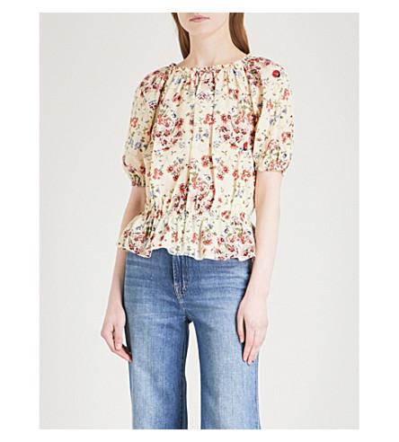MAJE Lucky floral-print silk-crepe top (Multi-coloured