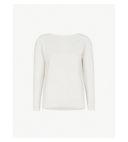 MAJE Relaxed-fit cotton-blend jumper (Ecru