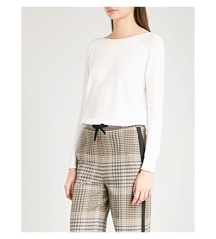 MAJE Relaxed-fit cotton-blend jumper (Ecru