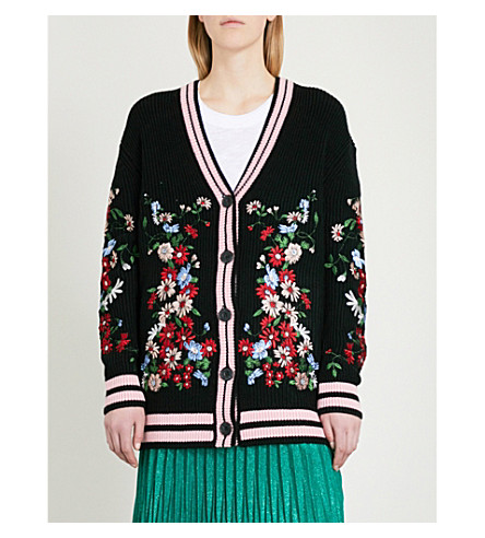 MAJE Floral-embroidered knitted cardigan (Black
