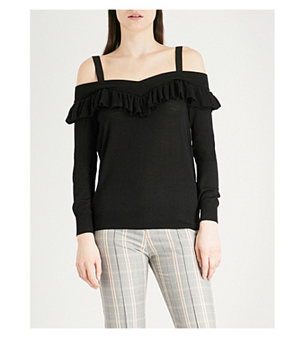 MAJE Marais off-the-shoulder wool top (Black