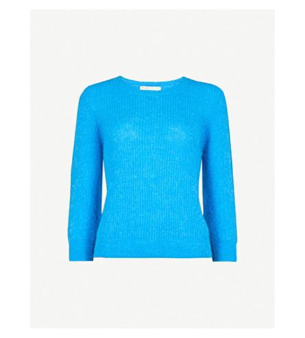 MAJE Marcel ribbed-knit jumper (Blue