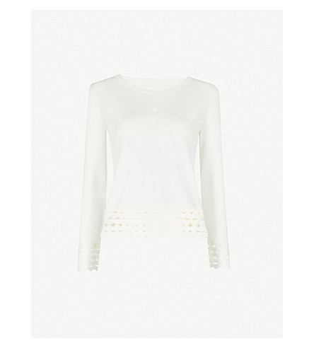 MAJE Mariade cutout-detail knitted top (Ecru