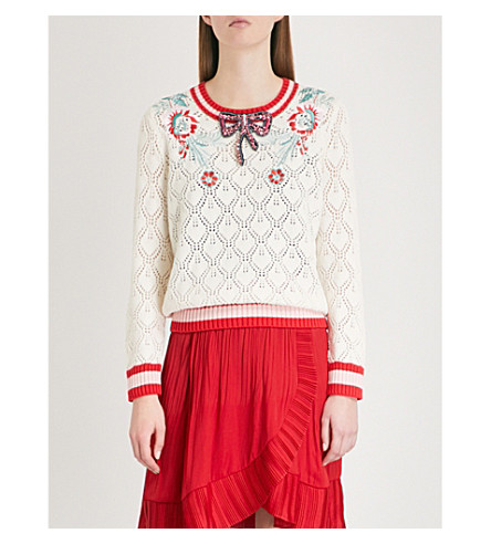 MAJE Marquise embellished pointelle-knit cotton and wool-blend jumper (Cream